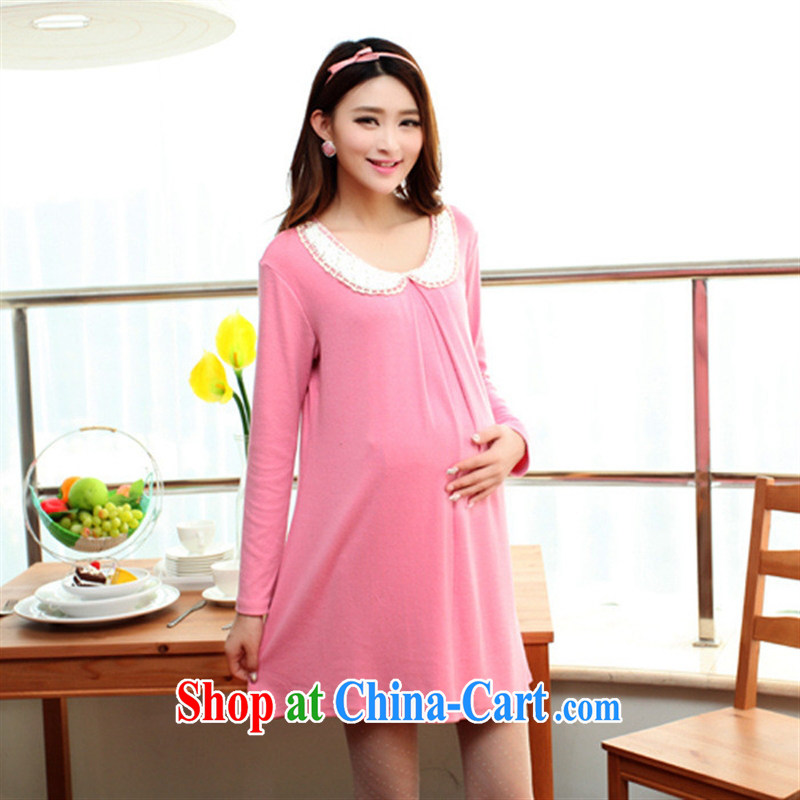 Ya-ting store pregnant women with 2014 Autumn with long-sleeved loose lapel dolls pregnant women dress pink XL