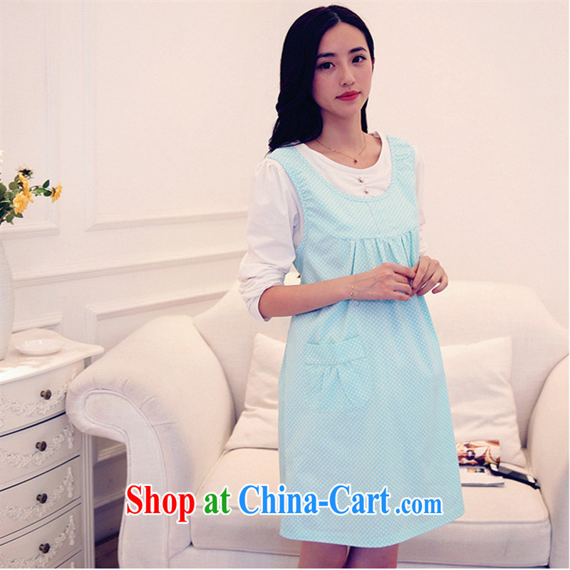 Ya-ting store pregnant women with spring loaded new long-sleeved wave point pregnant women dress blue XL