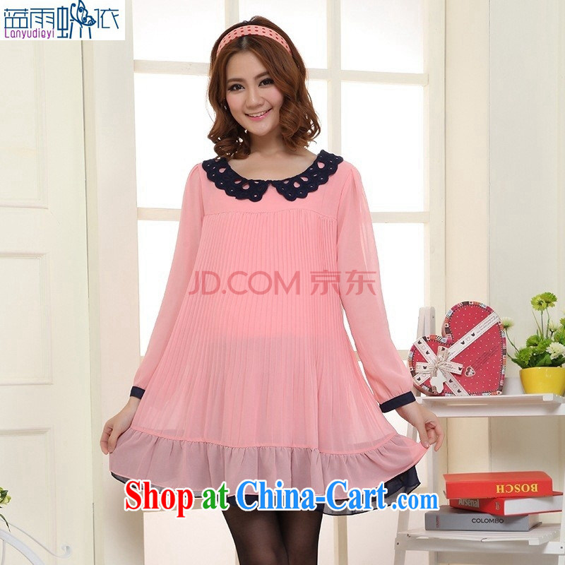 Ya-ting store pregnant women with spring loaded new Korean fashion lace collar loose snow woven long-sleeved maternity dress pink are code