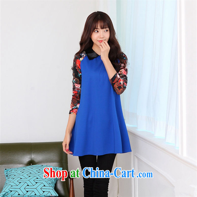 Ya-ting store pregnant women with stylish Korean autumn is loose the code pregnant women dress blue XL