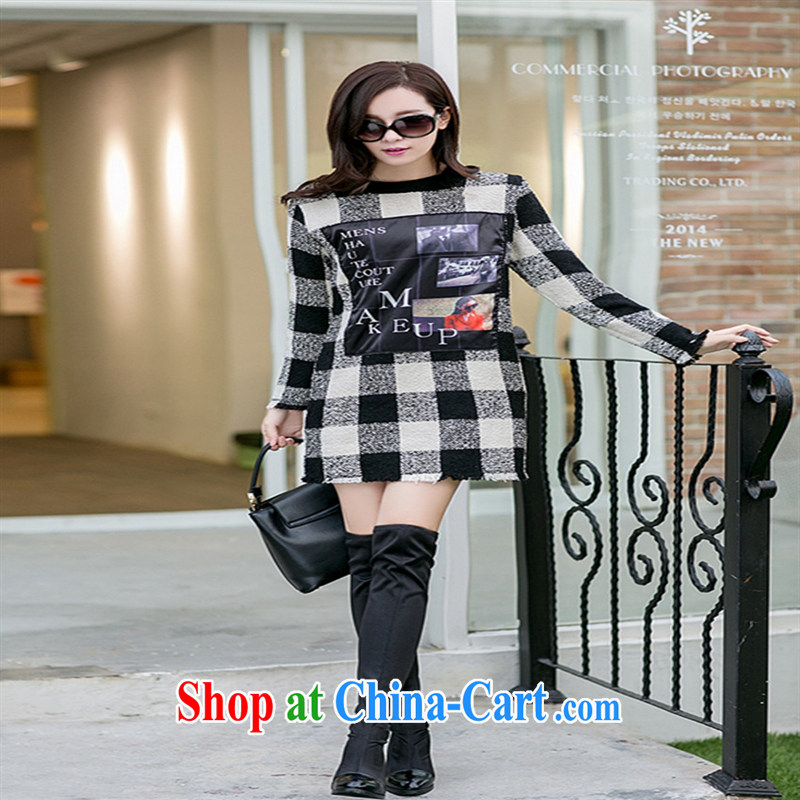 Ya-ting store pregnant women with Korean personality pattern stamp black-and-white tartan the long-sleeved maternity dress picture color XL