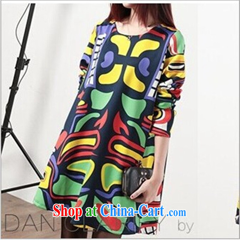 Ya-ting store spring 2015 stylish new pregnant women with stylish new loose stamp cloak A field pregnant women dress blue XXL