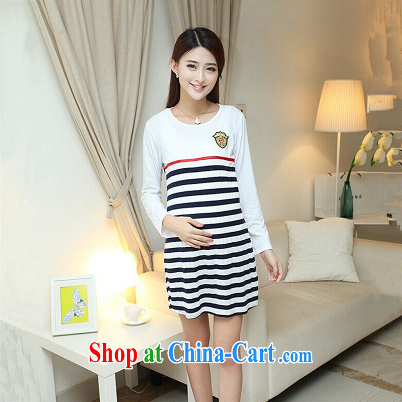 Ya-ting store pregnant women with autumn and the new long-sleeved striped pregnant women dresses white XL