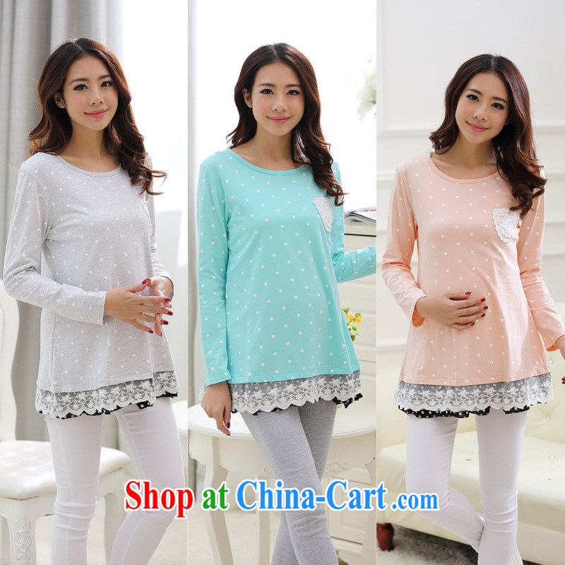 Ya-ting store 2015 pregnant women with spring loaded New Wave point stamp lace, with pregnant women dress pregnant women T-shirt light gray XL