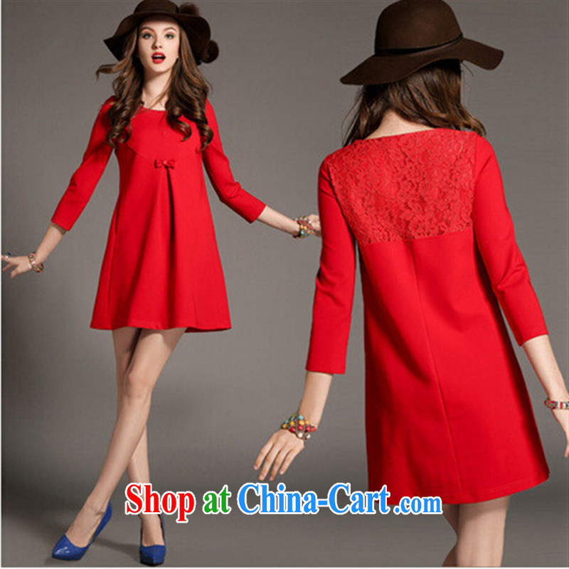 Ya-ting store 2015 pregnant women with spring loaded new Europe and the disposition code lace stitching pregnant women dresses red XXL