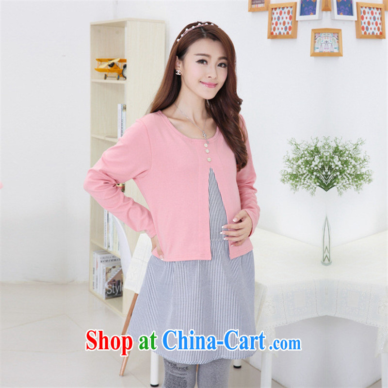 Ya-ting store pregnant women with stylish Korean autumn with new dresses cotton stylish long-sleeved T-shirt pregnant yellow XL