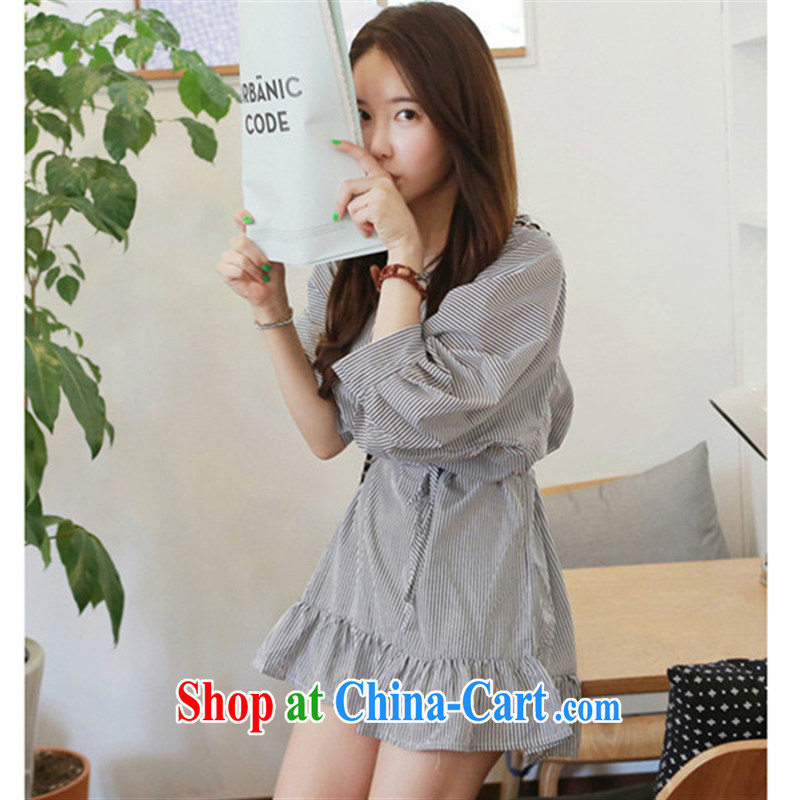Ya-ting store pregnant women with autumn loose streaks 7 cuff pregnant women dresses picture color XL