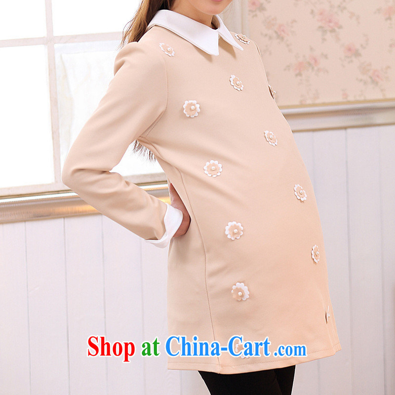 Ya-ting store pregnant women with stylish new autumn and replace the code female long-sleeved order flowers lapel pregnant women dress apricot XL