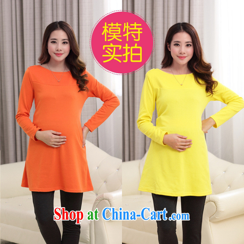 Ya-ting store 2015 spring loaded the code pure cotton long-sleeved maternity dress orange XL