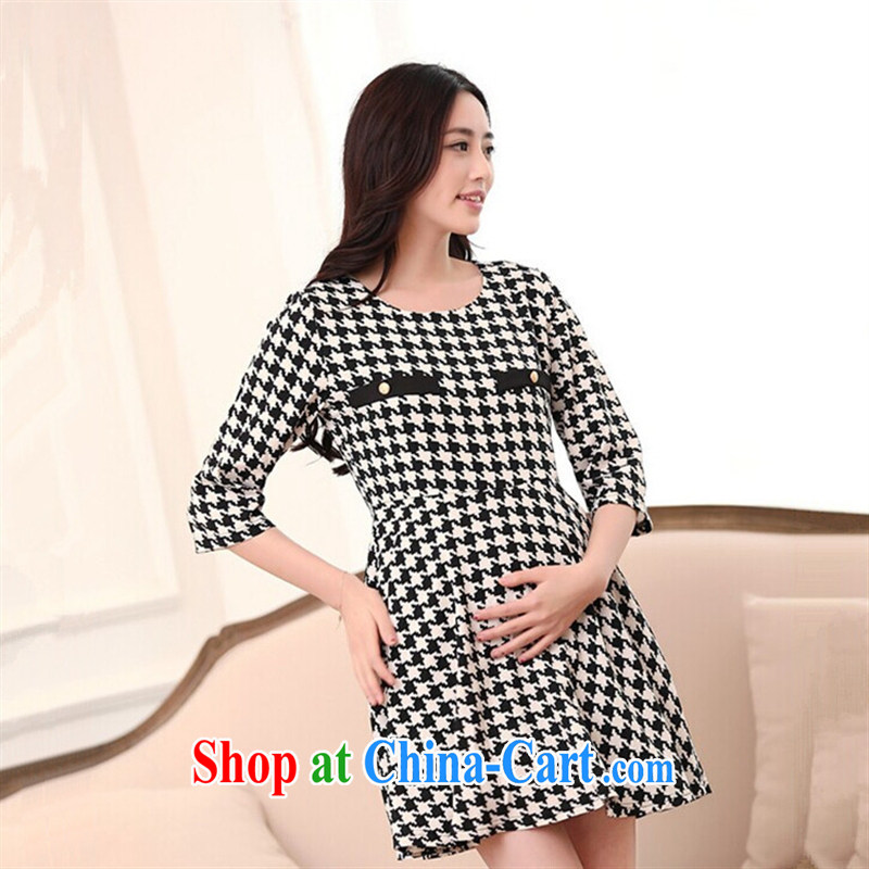 Ya-ting store pregnant women with autumn and the new 1000 birds, long-sleeved pregnant women dresses 1000 birds, XL