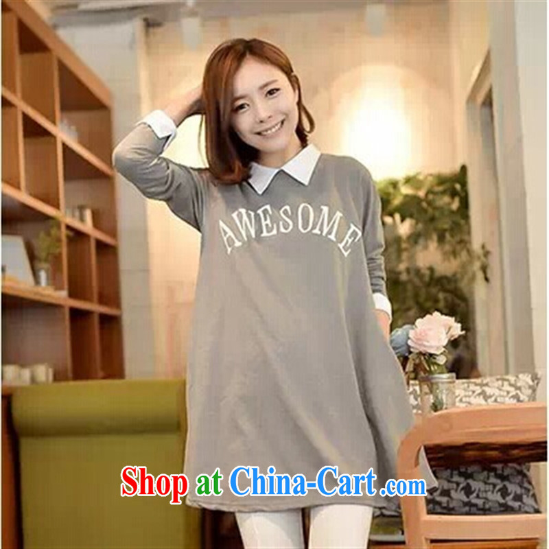 Ya-ting store fall 2014 new pregnant women, the Korean version cute lapel letter stamp pregnant women dresses are black, blue rain bow, and shopping on the Internet