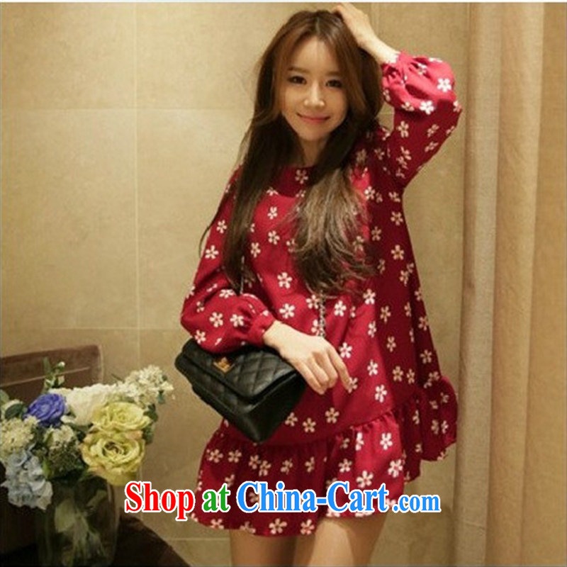 Ya-ting store pregnant women with spring loaded pregnant women dresses, dolls flouncing pregnant women dresses wine red L