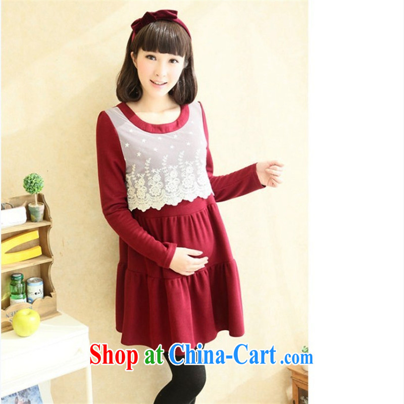 Ya-ting store pregnant women with stylish Korean loose the code pregnant women lace spell back dress black XL