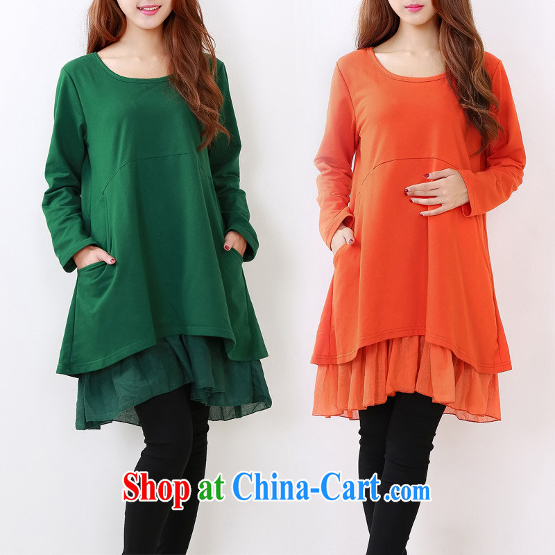 Ya-ting store pregnant women with Korean fashion, long clothes, pregnant women dress dark XL