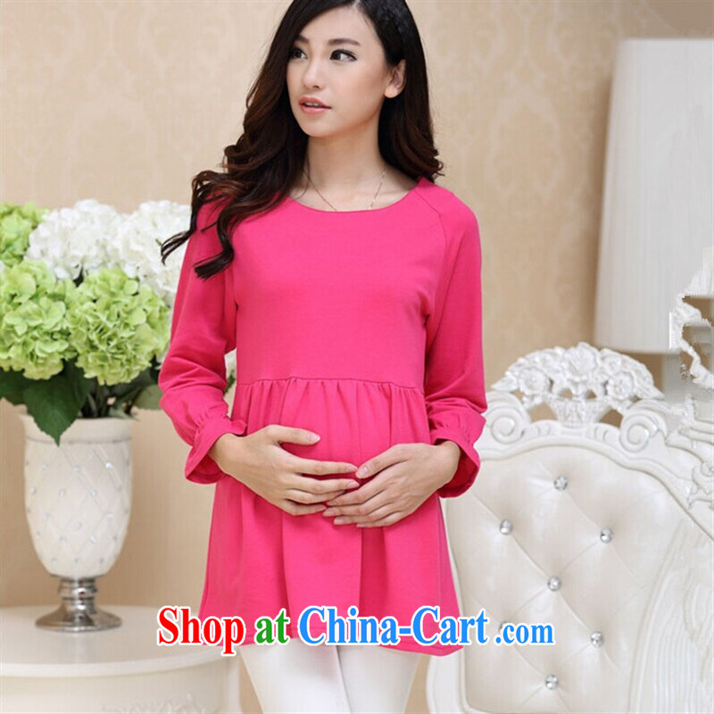 Ya-ting store pregnant women with Korean fashion autumn loaded clothes, pregnant women dress light blue XL