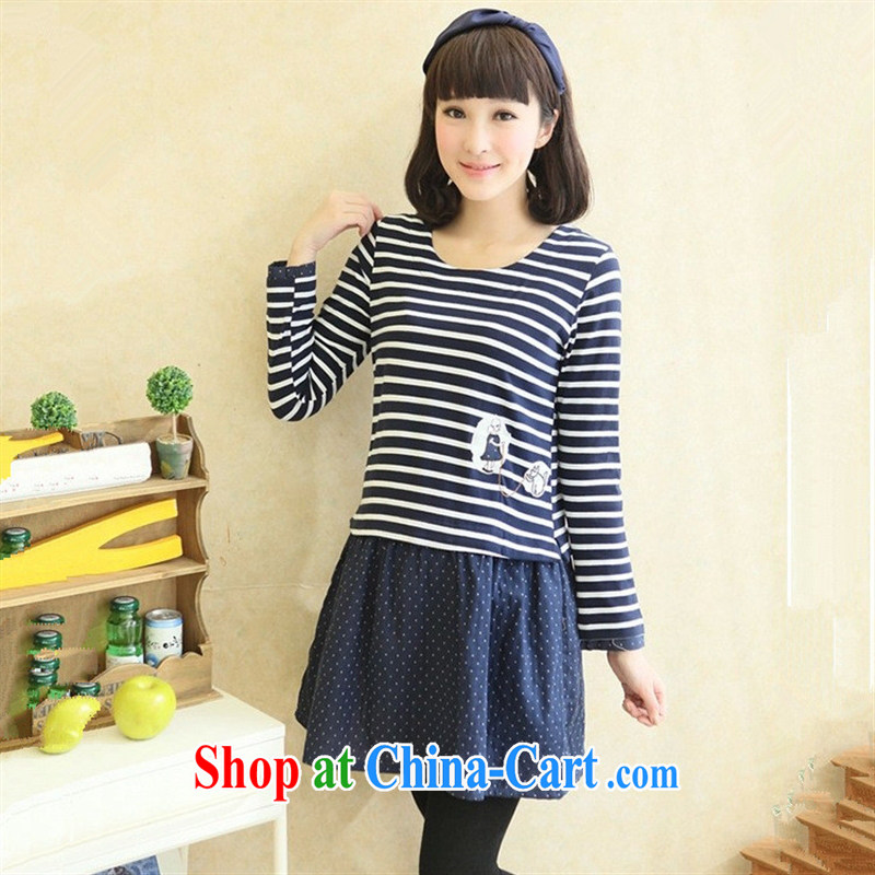 Ya-ting store pregnant women with Korean version of the new spring and autumn, the stylish pregnant women skirt long-sleeved striped pregnant women dress blue XL
