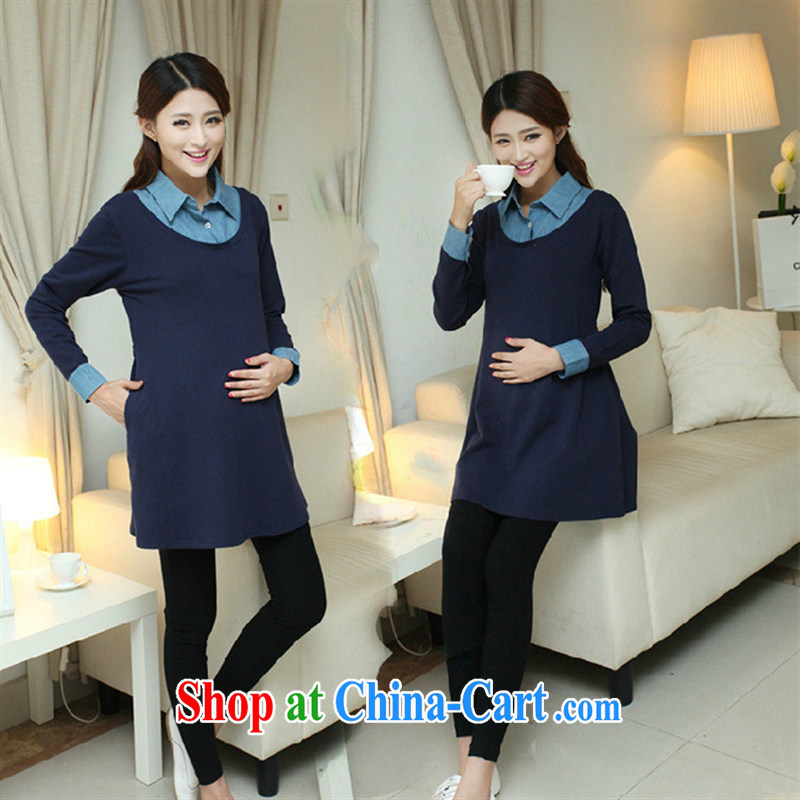 Ya-ting store pregnant women with spring loaded Korean fashion cowboy stitching pregnant women dress pregnant women dress blue XL
