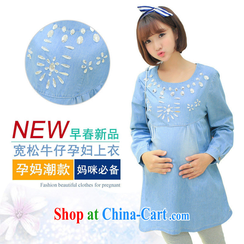 Ya-ting store pregnant women with Korean spring new denim long-sleeved maternity dress nails Pearl pregnant women T-shirt blue XL