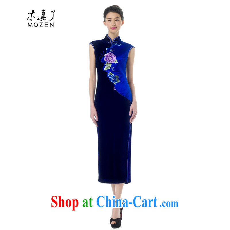 Wood is really the Chinese Spring 2015 the new women with improved Silk Cheongsam dress elegant beauty long skirt girl 43,281 10 dark blue XXL B _ _