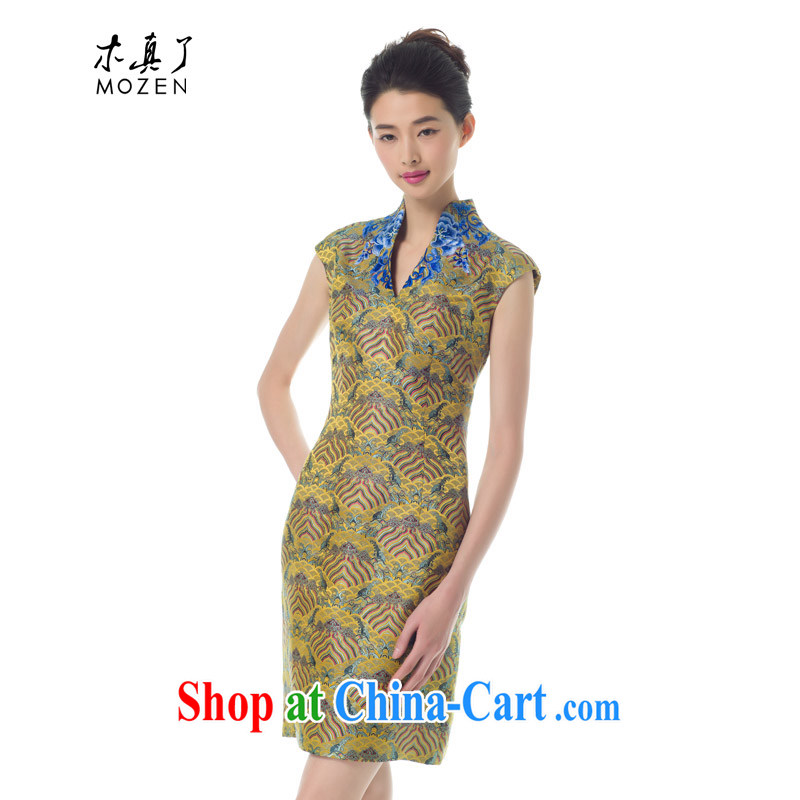 Wood is really the 2015 spring New Products ladies' embroidered cheongsam dress stylish beauty stamp dresses female 42,752 13 light yellow L