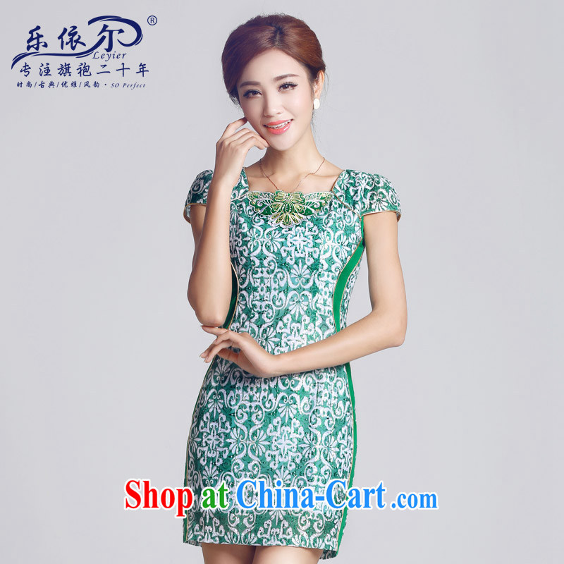 And, in accordance with antique embroidery girls dresses, short-day lady cheongsam dress green retro spring 2015 New Green S