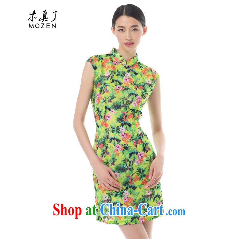 Wood is really the 2015 new Summer Snow woven dresses Chinese improved cheongsam dress stylish beauty dresses 42,818 15 light green XL