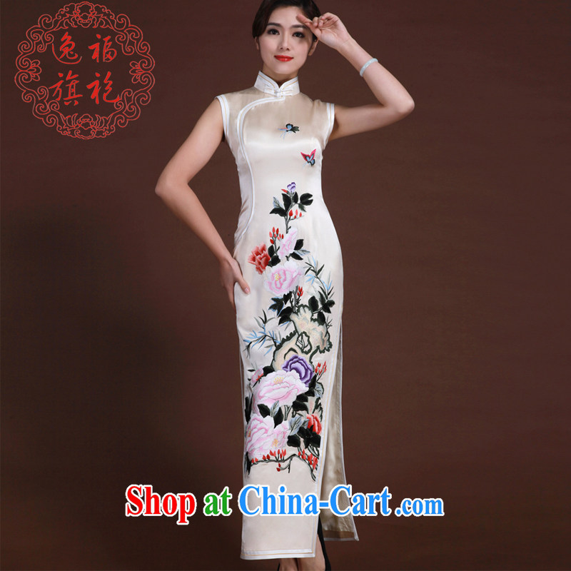 once and for all, long dresses, Retro high-end custom Chinese dinner dress light champagne silk embroidery cheongsam light champagne color tailored 25 day shipping