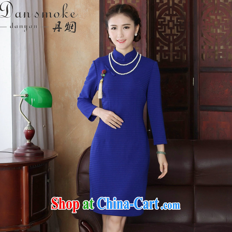Bin Laden smoke spring loaded new female outfit, for Chinese improved grid cheongsam style beauty is a hard-pressed 9 sub-sleeved dresses such as figure 3XL