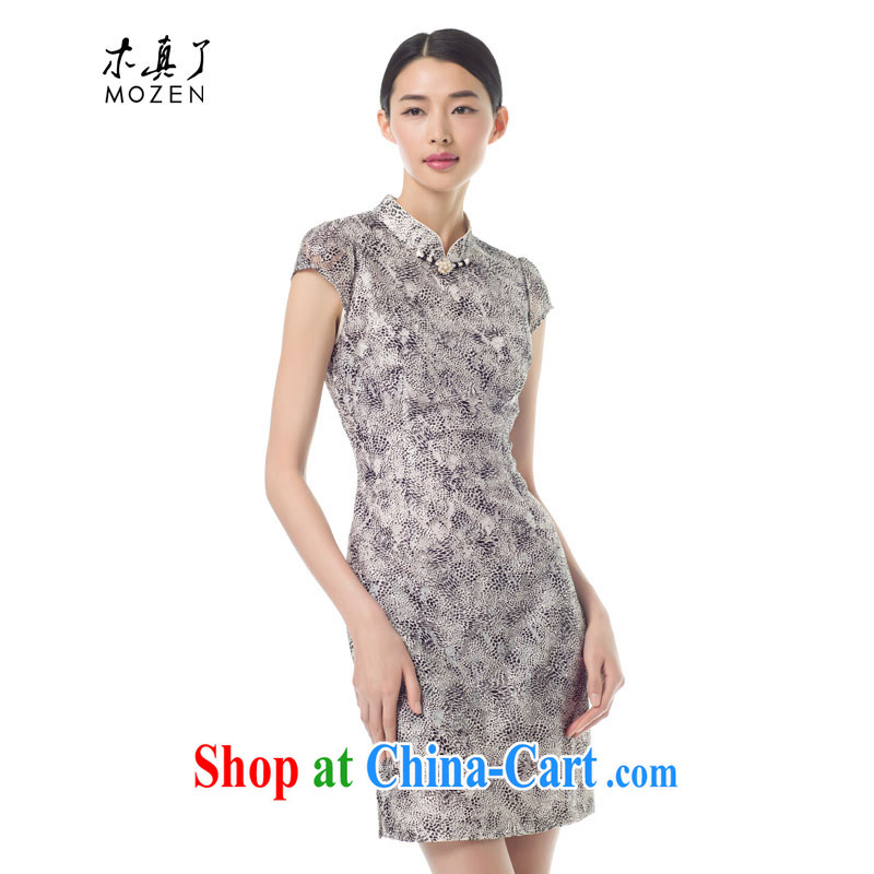 Wood is really the 2015 spring new female Leopard short cheongsam dress stylish beauty lace dresses 42,930 01 black XXL A _ _