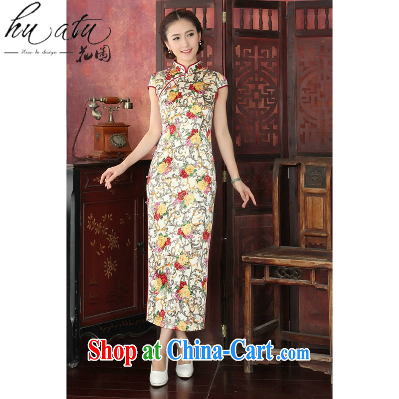 spend the summer dresses girls retro silk banquet long robes, new, rich people spend long robes sauna Silk Cheongsam white saffron 2XL