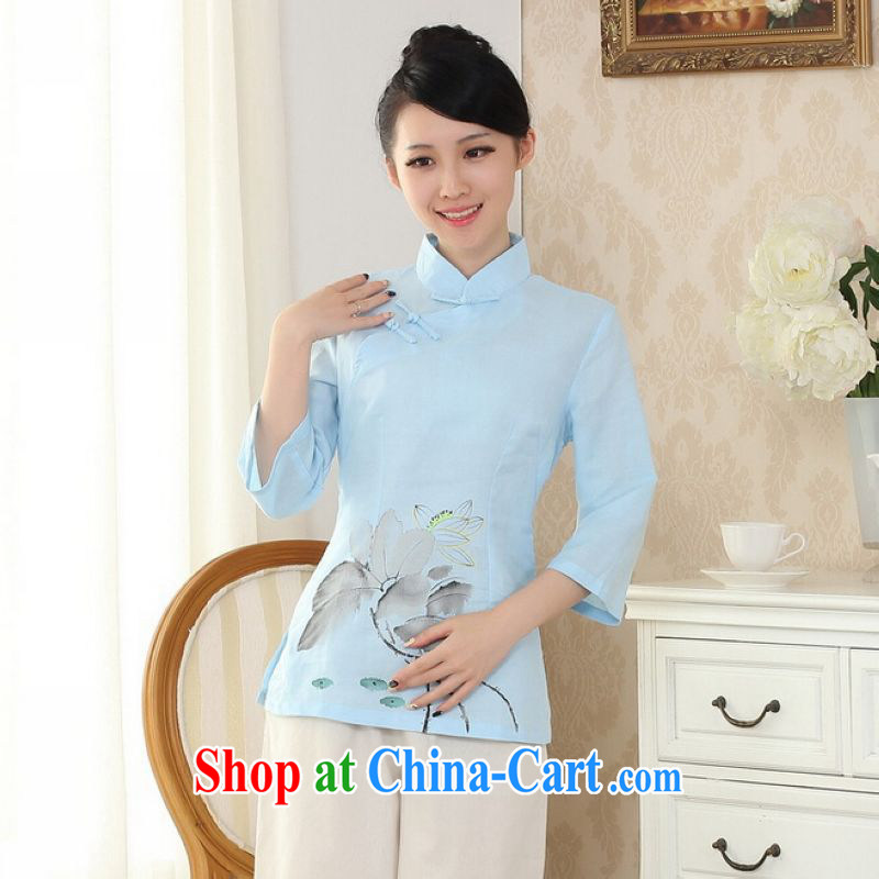 And Jing Ge female Tang Women's clothes summer T-shirt, for a tight hand-painted cotton the Chinese Han-female improved light blue 2 XL