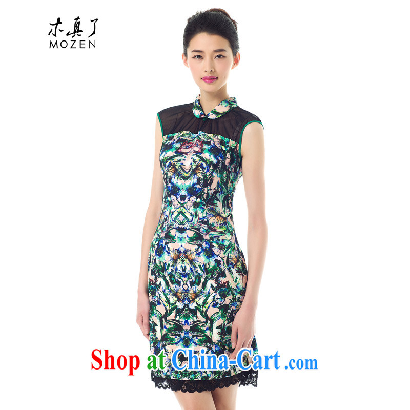 Wood is really the Chinese Spring 2015 new stylish stamp dress improved cheongsam dress beauty dresses 42,942 01 black XXL A ( )
