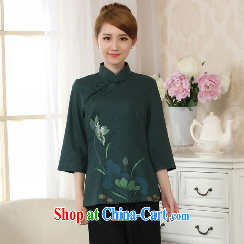 He Jing Ge female Tang Women's clothes summer T-shirt, for a tight hand-painted cotton the Chinese Han-female improved Green S
