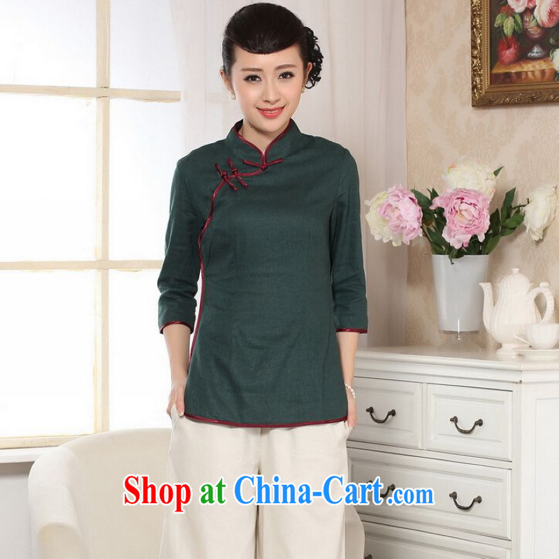 He Jing Ge female Tang Women's clothes summer T-shirt, for a tight hand-painted cotton the Chinese Han-female improved green M
