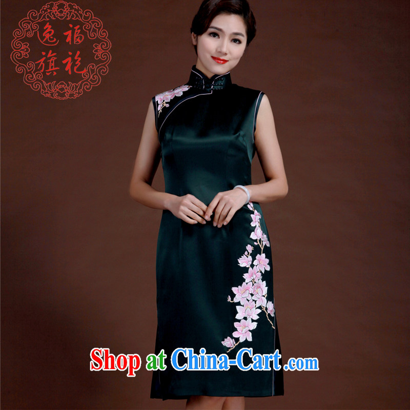 once and for all, dark green hand embroidery cheongsam heavy silk short cheongsam retro elegant Chinese wind clothing high-end a dark tailored 20 day shipping