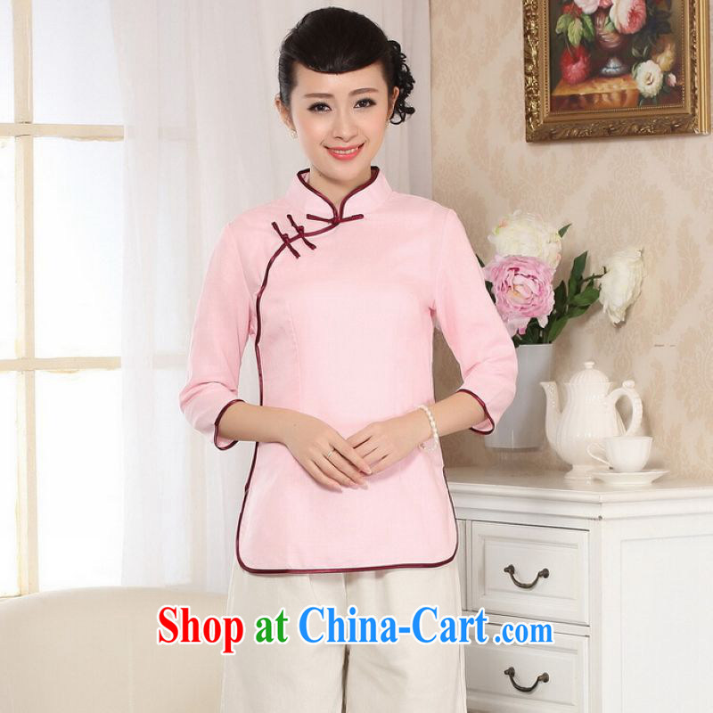 And Jing Ge female Tang Women's clothes summer T-shirt, for a tight hand-painted cotton the Chinese Han-female improved pink 2 XL
