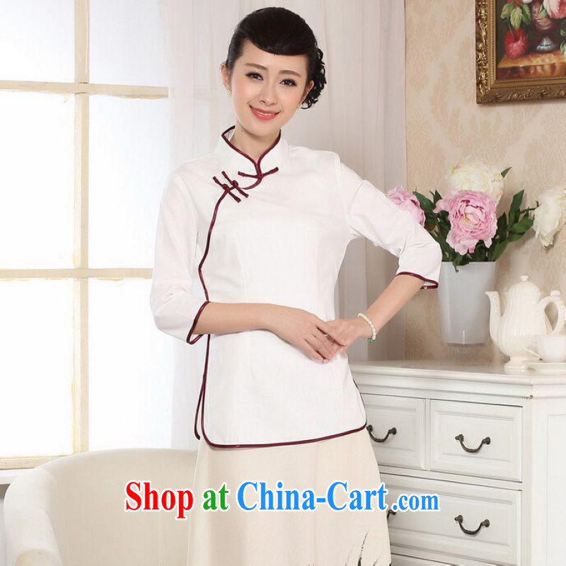 And Jing Ge female Tang Women's clothes summer T-shirt, for a tight hand-painted cotton the Chinese Han-female improved white 2XL