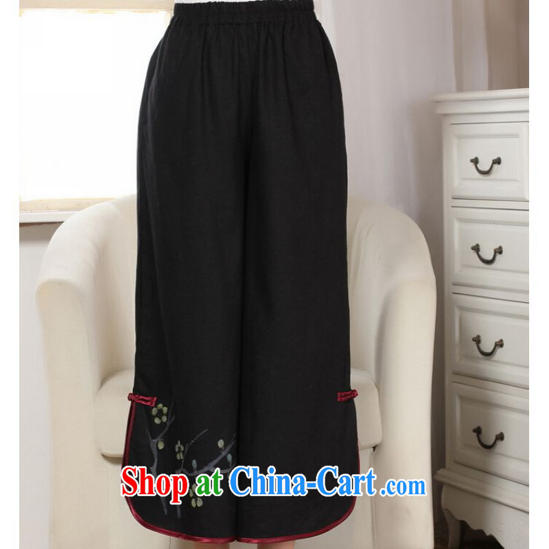 And Jing Ge Ms. pants summer costumes Han-wide leg Trouser press Ethnic Wind girls pants black M