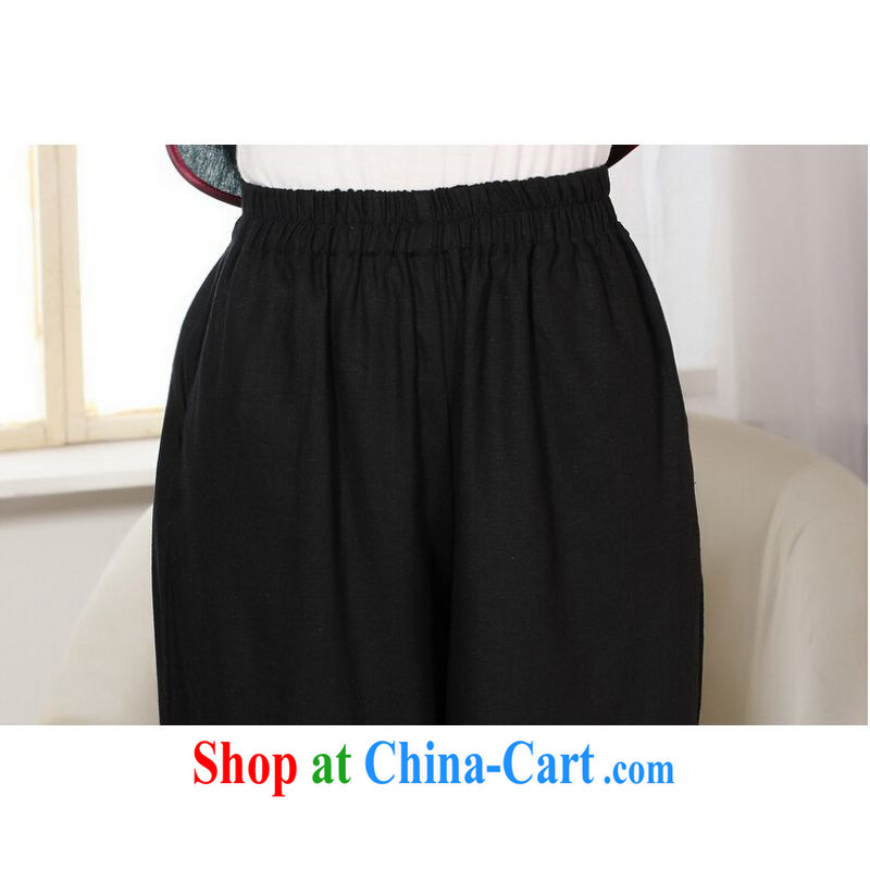 And Jing Ge Ms. pants summer costumes Han-wide legged pants Ethnic Wind girls pants black M, Jing Ge, shopping on the Internet