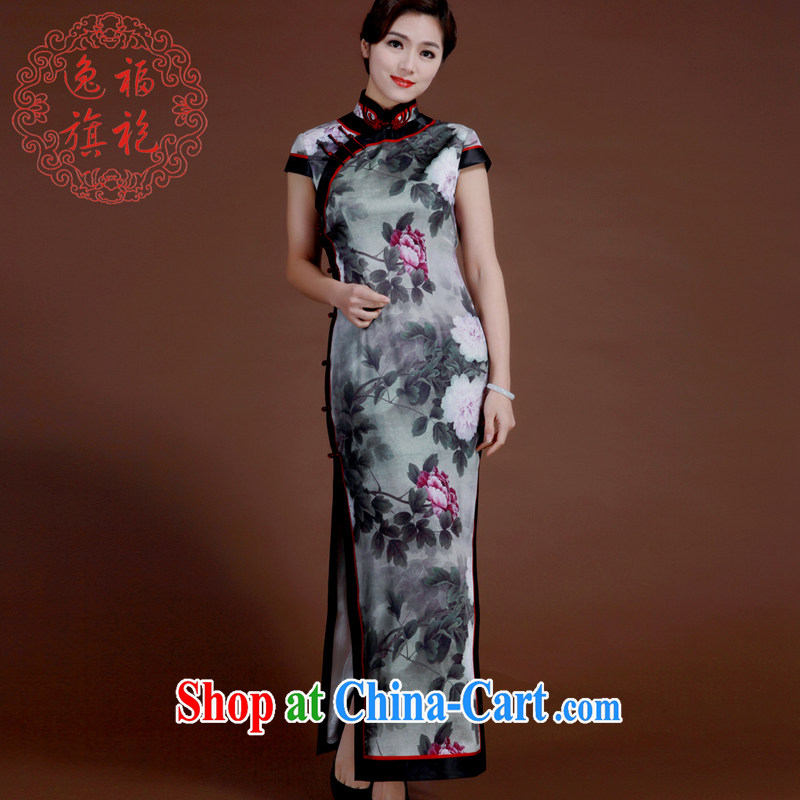 once and for all, sauna silk Silk Cheongsam long spring new dresses retro high-end manual custom cheongsam dress female gray tailored 20 day shipping