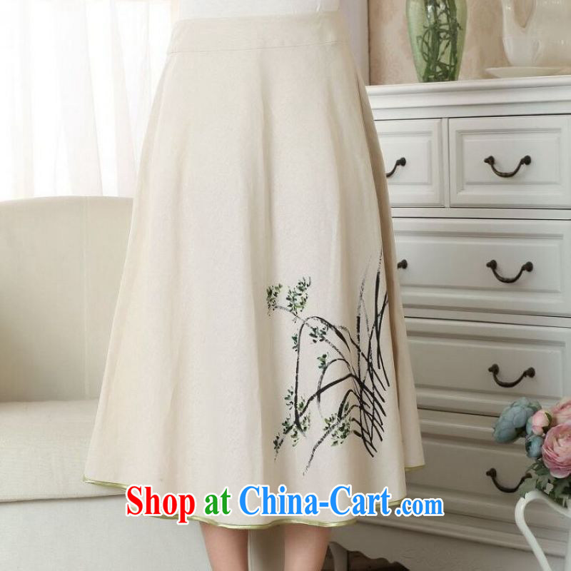 And Jing Ge female body skirt summer ground 100 ethnic wind cotton Ma hand-painted dress skirt P 0011 photo color XL