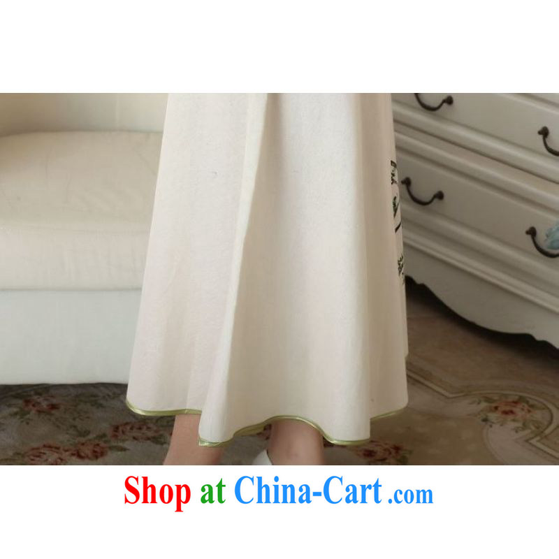And Jing Ge female body skirt summer ground 100 ethnic wind cotton Ma hand-painted ladies' skirts P 0011 picture color XL, Jing Ge, shopping on the Internet