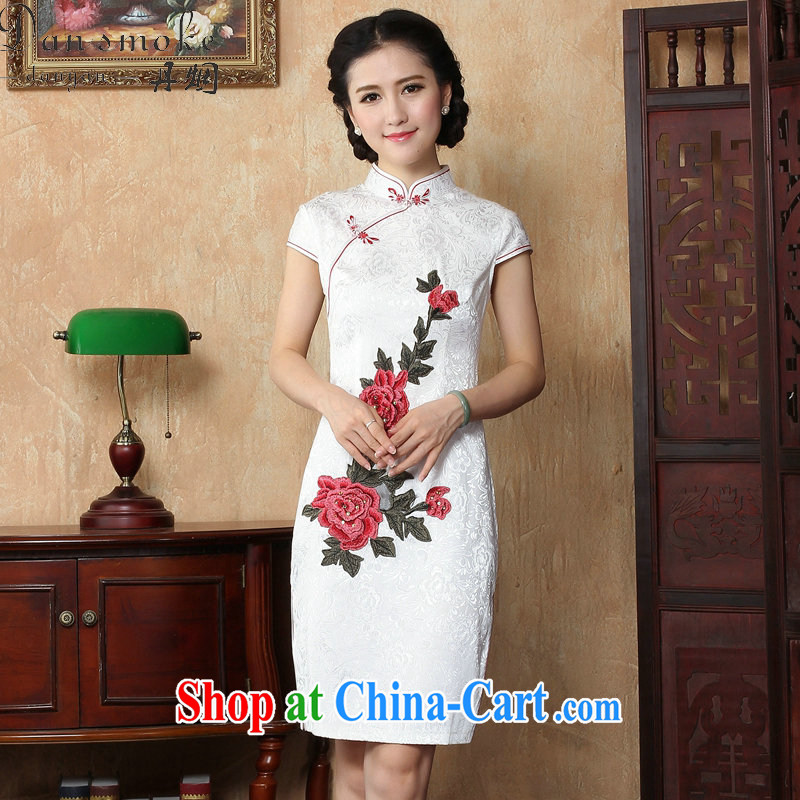 Bin Laden smoke-free China wind summer new embroidered Chinese, for improved cheongsam dress female graphics thin a tight cheongsam dress as shown color L
