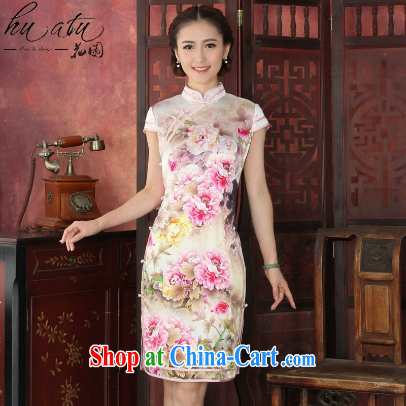 spend the summer cheongsam dress retro silk dresses the color day Hong Kong double piping sauna Silk Cheongsam cheongsam dress dinner dress such as Map Color L