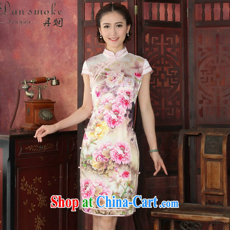 Bin Laden smoke-free summer cheongsam dress retro Silk Cheongsam Heavenly Fragrance double-necks sauna Silk Cheongsam cheongsam dress dinner dress such as the color 2 XL