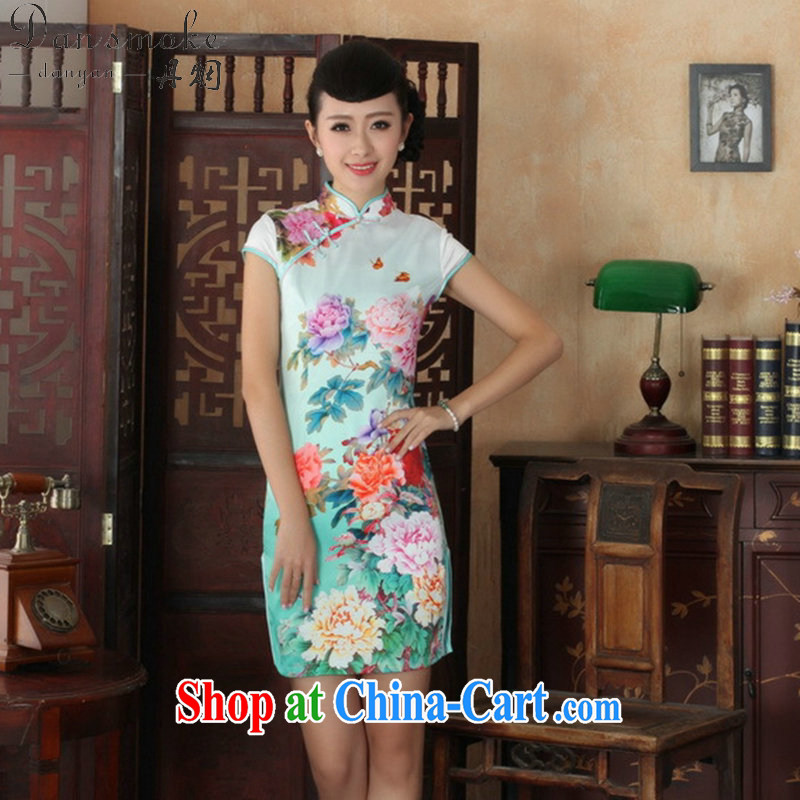 Dan smoke summer new female temperament Chinese qipao Chinese graphics thin beauty is hard-pressed for the stamp short cheongsam picture color 2 XL