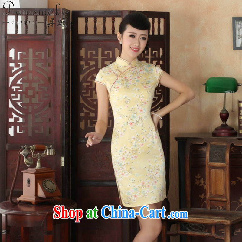 Dan smoke summer new female elegance Chinese qipao Chinese graphics thin short beauty stamp duty is a hard short cheongsam as color 2XL