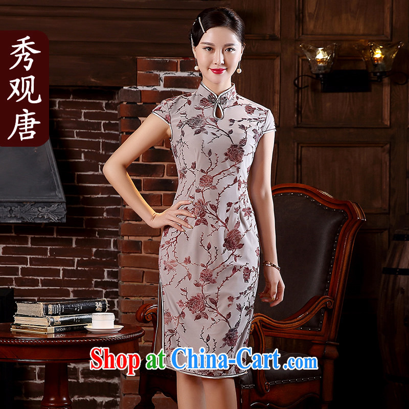 The CYD HO Kwun Tong' take-jung 2015 spring and summer new crystal cotton improved cheongsam fashionable style retro dresses QD 5109 gray XXXL