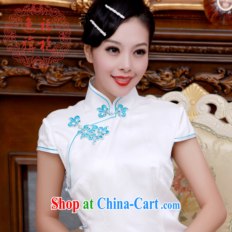 once and for all, heavy Silk Cheongsam dress, long dresses and summer stars with improved cheongsam qipao retro female white tailored 10 day shipping