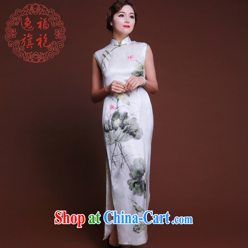once and for all, new hand painted dresses heavy silk hand made long dresses, dinner Chinese Dress Chinese style white tailored 20 day shipping